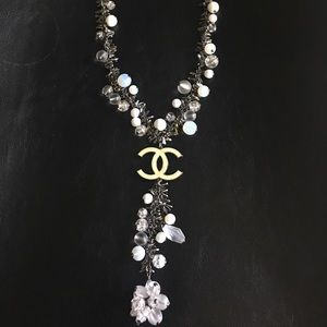 Authentic Chanel Metal Silver, Beaded  Necklace